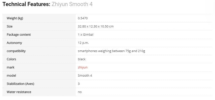 zhiyun smooth 4 specifications